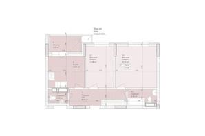 ЖК Дніпровська Мрія: планування 2-кімнатної квартири 56.44 м²