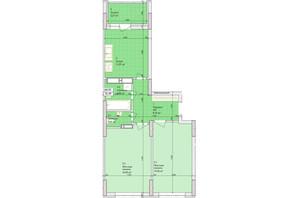 ЖК Дніпровська Мрія: планування 2-кімнатної квартири 60.92 м²