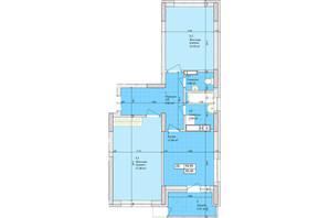 ЖК Дніпровська Мрія: планування 2-кімнатної квартири 59.95 м²