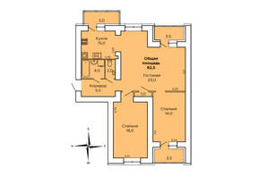 ЖК Дом на Лазурной: планування 3-кімнатної квартири 93 м²
