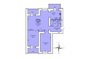 ЖК Дом на Лазурной: планировка 3-комнатной квартиры 97.8 м²