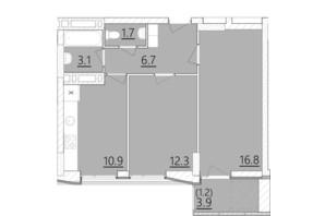 ЖК Дом на Янгеля: планировка 2-комнатной квартиры 52.7 м²