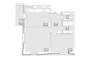 ЖК Дом на Янгеля: планировка 2-комнатной квартиры 53.7 м²
