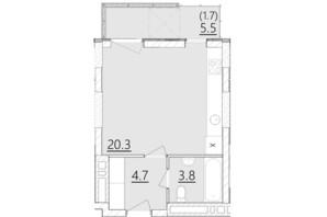 ЖК Дом на Янгеля: планировка 1-комнатной квартиры 30.5 м²