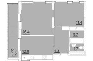 ЖК Дом на Янгеля: планировка 2-комнатной квартиры 54.9 м²