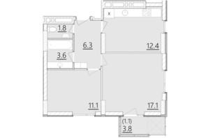 ЖК Дом на Янгеля: планировка 2-комнатной квартиры 53.4 м²