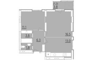 ЖК Дом на Янгеля: планировка 2-комнатной квартиры 53.5 м²