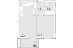 ЖК Дом на Янгеля: планировка 1-комнатной квартиры 38.9 м²