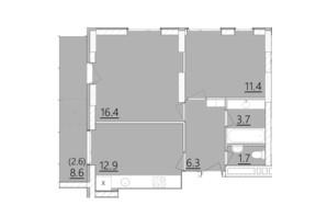 ЖК Дом на Янгеля: планировка 2-комнатной квартиры 55 м²