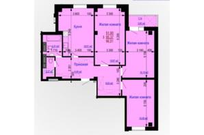 ЖК Дом на Зерновой: планировка 3-комнатной квартиры 97 м²