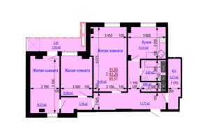 ЖК Дом на Зерновой: планировка 3-комнатной квартиры 85.51 м²