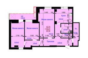 ЖК Дом на Зерновой: планировка 3-комнатной квартиры 85.56 м²