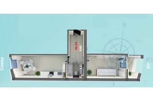 ЖК Дом у моря: планировка 1-комнатной квартиры 49.64 м²