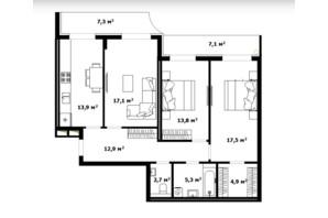 ЖК Dream City (Дрим Сити): планировка 3-комнатной квартиры 90 м²