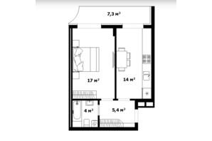 ЖК Dream City: планування 1-кімнатної квартири 41 м²