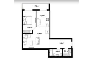ЖК Dream City: планування 1-кімнатної квартири 65 м²
