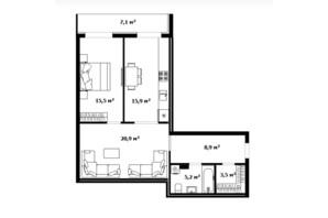 ЖК Dream City: планування 1-кімнатної квартири 70 м²