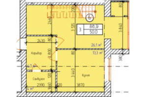 ЖК Dream Park: планування 3-кімнатної квартири 86.9 м²