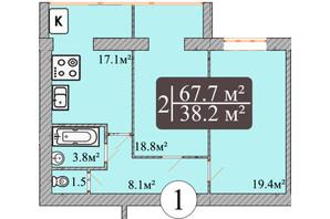 ЖК Dream Park: планування 2-кімнатної квартири 67.7 м²
