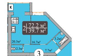 ЖК Dream Park: планування 3-кімнатної квартири 72.2 м²