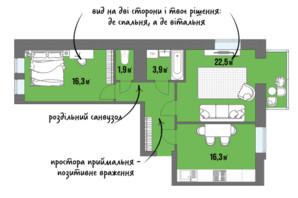 ЖК DreamTown: планування 2-кімнатної квартири 67.2 м²
