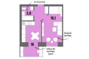 ЖК DreamTown: планування 1-кімнатної квартири 39.7 м²