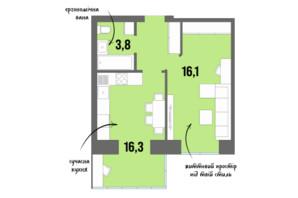 ЖК DreamTown: планування 1-кімнатної квартири 40.6 м²