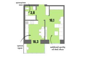 ЖК DreamTown: планировка 1-комнатной квартиры 40.6 м²