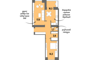 ЖК DreamTown: планування 2-кімнатної квартири 61.9 м²