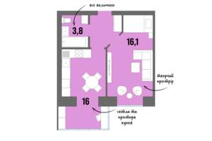 ЖК DreamTown: планировка 1-комнатной квартиры 39.7 м²