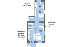 ЖК DreamTown: планировка 2-комнатной квартиры 72.9 м²