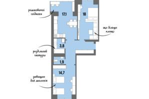 ЖК DreamTown: планування 2-кімнатної квартири 62.3 м²