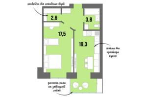 ЖК DreamTown: планировка 1-комнатной квартиры 44.9 м²