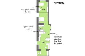 ЖК DreamTown: планировка 1-комнатной квартиры 54.6 м²