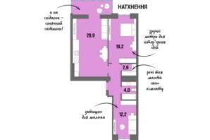 ЖК DreamTown: планировка 2-комнатной квартиры 71.9 м²