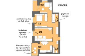 ЖК DreamTown: планування 3-кімнатної квартири 78.1 м²