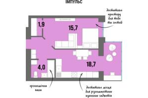 ЖК DreamTown: планировка 1-комнатной квартиры 43.2 м²