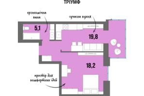 ЖК DreamTown: планировка 1-комнатной квартиры 45.7 м²