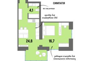 ЖК DreamTown: планировка 1-комнатной квартиры 44.2 м²