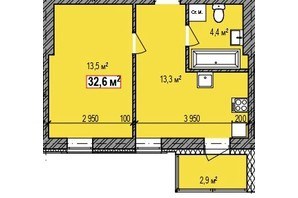 ЖК Dresden: планування 1-кімнатної квартири 32.6 м²
