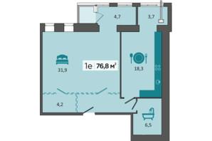 ЖК «Дубініна»: планування 1-кімнатної квартири 76.6 м²