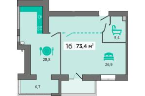 ЖК «Дубинина»: планировка 1-комнатной квартиры 73.4 м²