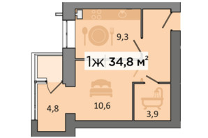 ЖК «Дубинина»: планировка 1-комнатной квартиры 34.8 м²