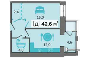 ЖК «Дубинина»: планировка 1-комнатной квартиры 42.6 м²