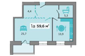 ЖК «Дубинина»: планировка 1-комнатной квартиры 59.6 м²