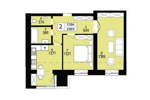 ЖК Дизайн парк: планування 2-кімнатної квартири 57.86 м²