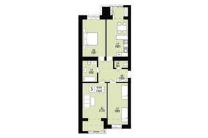 ЖК Дизайн парк: планування 3-кімнатної квартири 91.91 м²