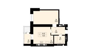ЖК Дизайн парк: планування 1-кімнатної квартири 41.42 м²