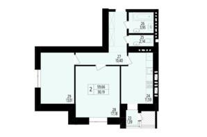 ЖК Дизайн парк: планування 2-кімнатної квартири 59.66 м²