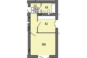 ЖК Джентельмен Парк: планування 1-кімнатної квартири 46.8 м²